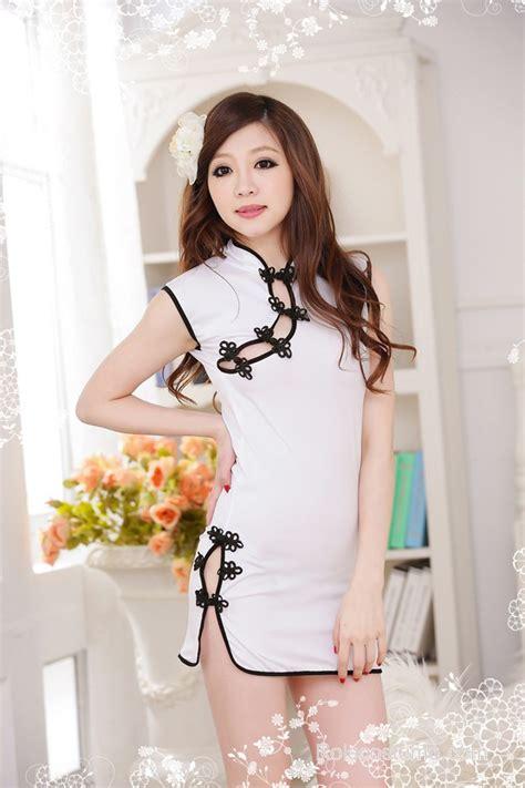 Collar Classic Dress white classic v collar qipao dress costume