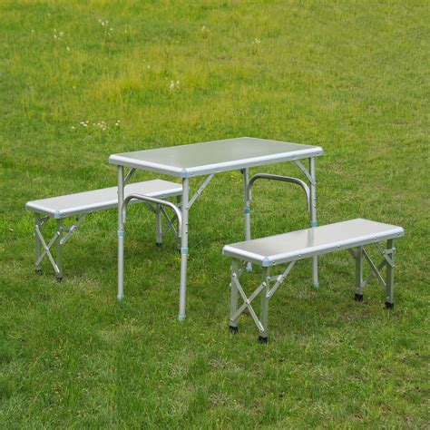 portable picnic table with benches outsunny 32 portable outdoor picnic table with folding bench seats silver only