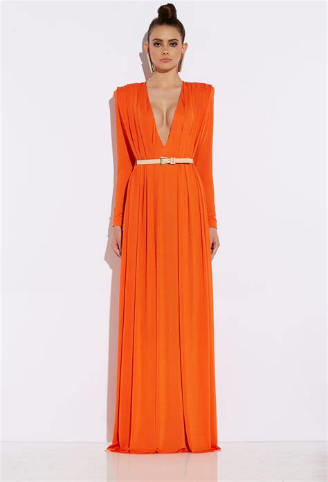 draped maxi dresses bowie orange draped maxi dress