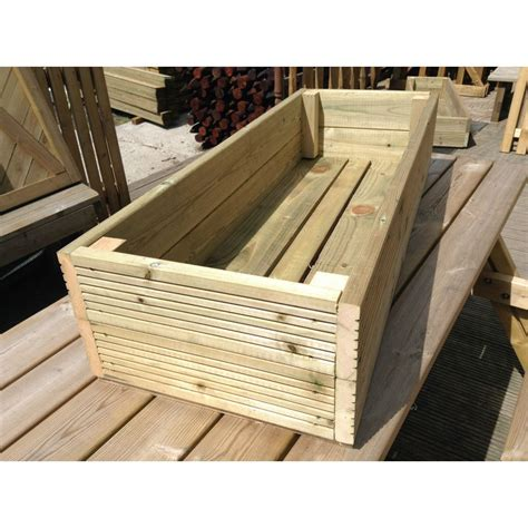 Large Wooden L by Large Decking Wooden Garden Planter Wood Trough Handmade