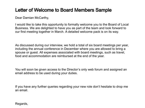 appointment letter for board member letter of welcome