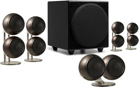orb surround sound speakers orb audio speakers in hammered earth finish ecoustics com