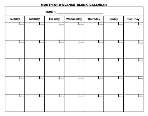 Free printable month at a glance blank calendar