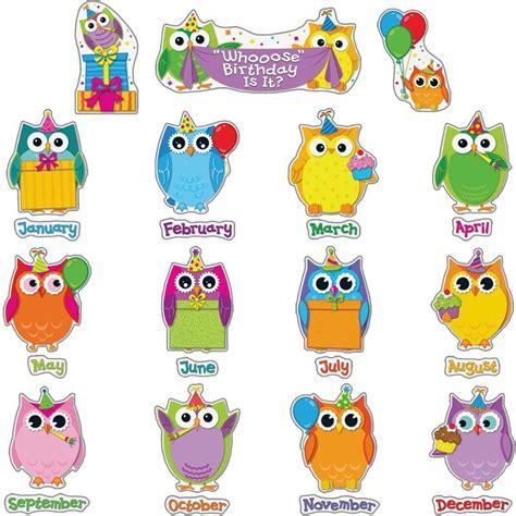 Printable Owl Birthday Chart | colorful owls birthday kit