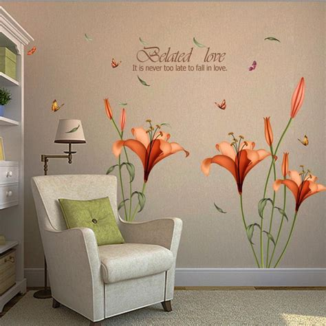 wall stickers home decor chrysanthemums butterflies dragonflies garden