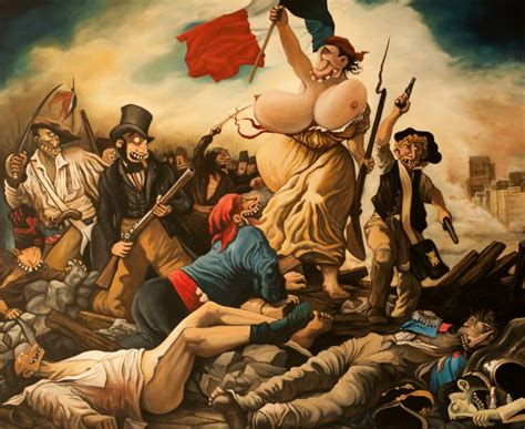 saatchi art la libert 233 guidant le peuple painting by mike lombard