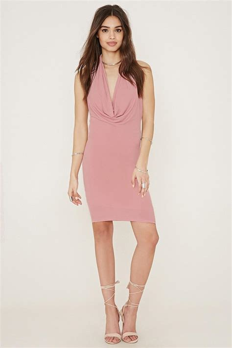 Frock Horror Of The Week Forever 21s Cowl Neck Dress by Forever 21 Cowl Neck Halter Bodycon Dress In Pink Lyst