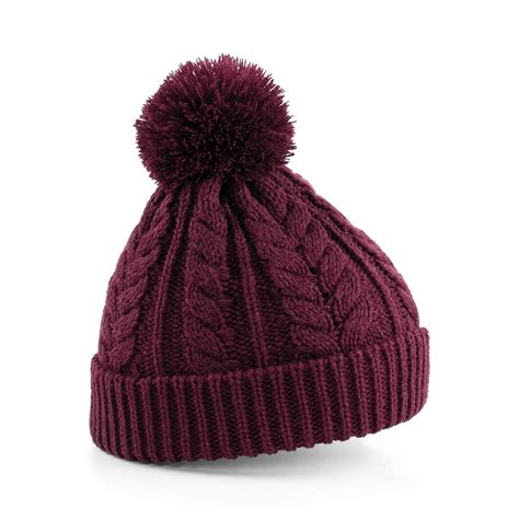 New Beechfield Unisex Cable Knit Snowstar Winter Beanie