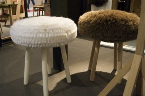 White Fibres In Stool by Cozy Stools Made Of Fibers Horsehair And Wood Digsdigs
