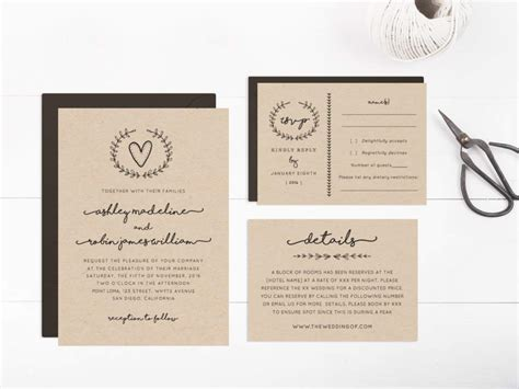 rustic wedding invitation templates wedding invitation