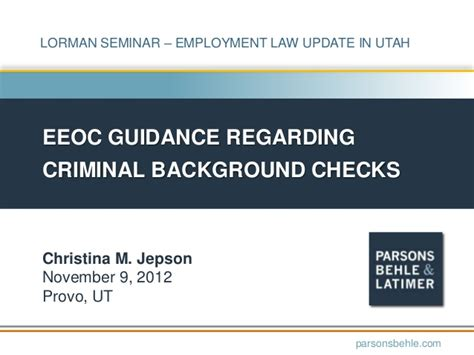 Esta And Criminal Record Eeoc Guidance Regarding Criminal Background Checks