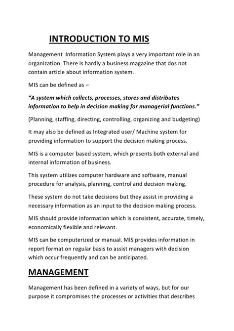 Mba Information Management Notes by Mis Notes