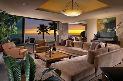 overstuffed sofa living room beach with bc beige molding contemporary style in laguna beach california tropical