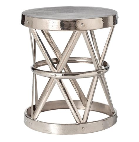 Aluminum Accent Table Costello Polished Nickel Hammered Metal Open Accent Table Large Kathy Kuo Home
