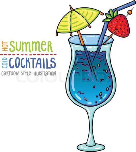 cocktail cartoon cartoon style illustration of fresh cocktail summer
