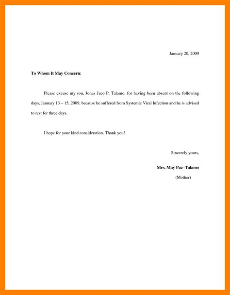 School Absence Explanation Letter Sle 8 Excuses Letter For School Resign Template