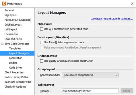 layout java code preferences jformdesigner java swing gui designer