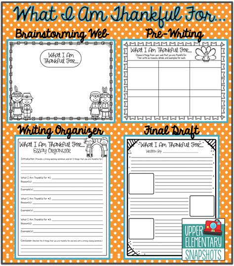 Thanksgiving Essay by Elementary Snapshots Thanksgiving Writing Quot What I Am Thankful For Quot Plus Freebie