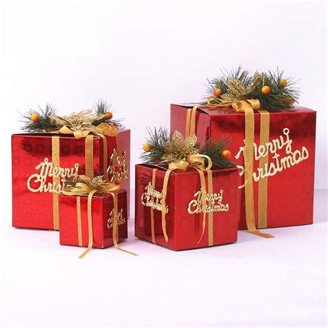 multi size christmas gift box solid merry christmas tree ornaments showcase shop xmas decoration