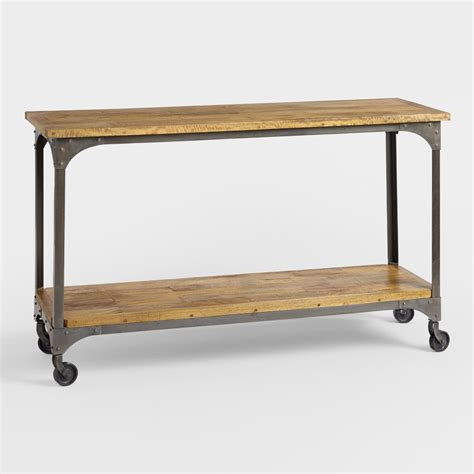 Wooden Console Table Wood And Metal Aiden Console Table World Market