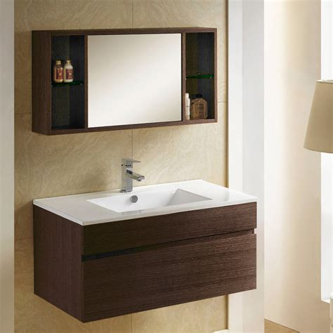 modern bathroom vanity with storage 33 quot dimitri wall mount vanity and mirrored storage
