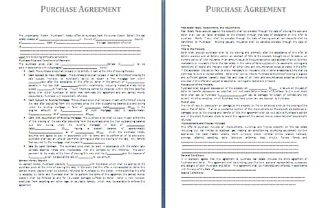 template for purchase agreement purchase agreement template free agreement and contract