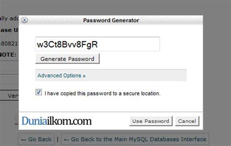 membuat database pada pascal password generator untuk membuat database cpanel duniailkom