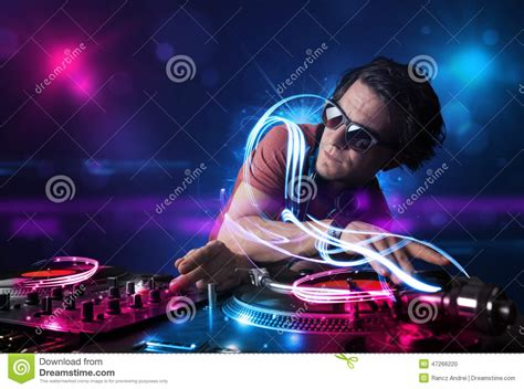 music video lighting effects disc jockey playing music with electro light effects and