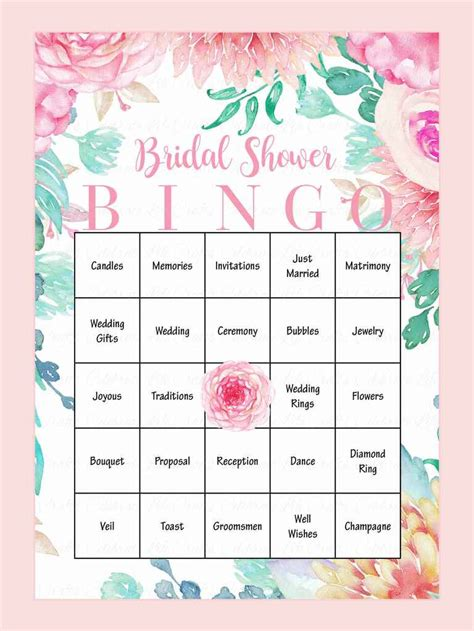 bridal shower printable bingo 10 printable bridal shower to diy
