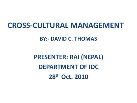 Cross Cultural Management 1 communicating and negotiating across cultures