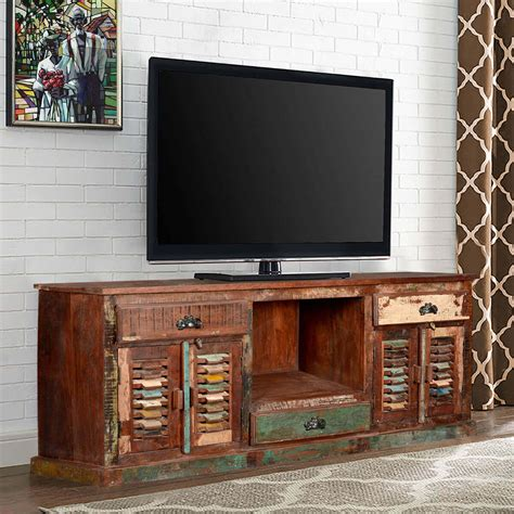 tv woodwork rustic reclaimed wood large tv stand media console