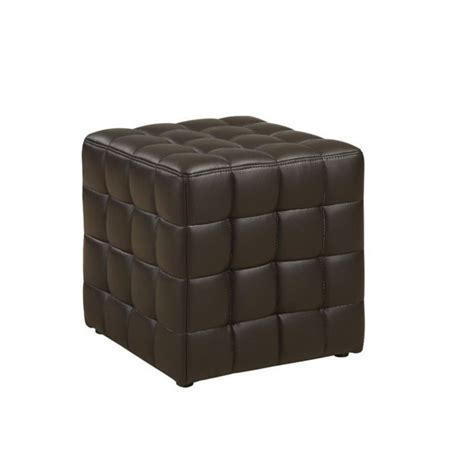 dark brown leather ottoman faux leather ottoman in dark brown i 8980