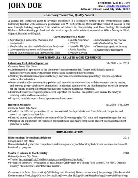 resume exle for lab technician top biotechnology resume templates sles