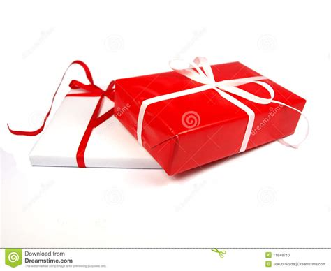 red and white christmas gifts on white background stock