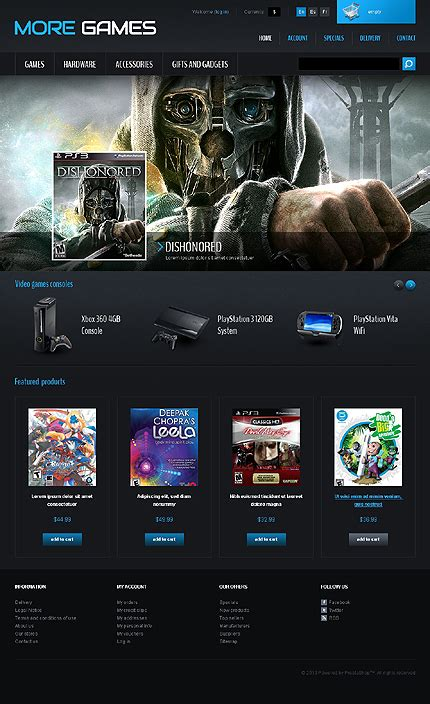 game website layout games consoles prestashop theme 42665