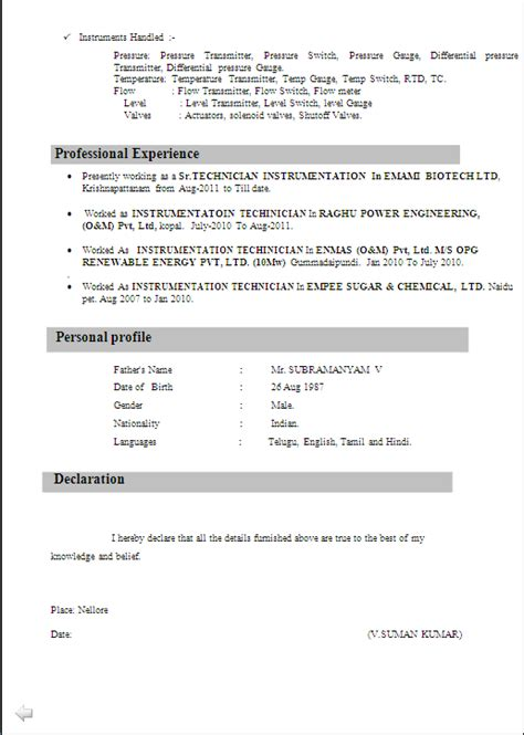 Sample Resume For Experienced Electrical Engineer by Resume Sample For I T I Instrument Mechanics From N C V