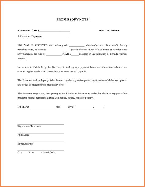 simple promissory note template free