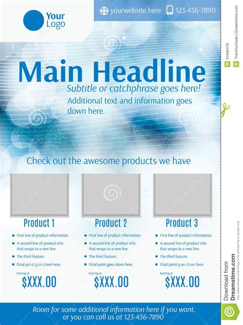 product layout ad blue and white product flyer template stock vector image