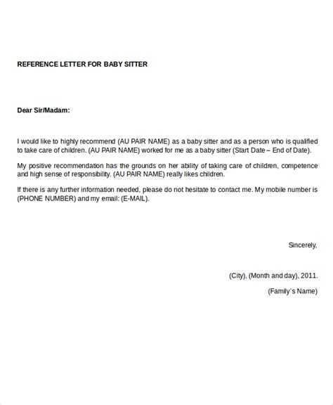 Reference Letter Au Pair reference letter 12 free word pdf documents