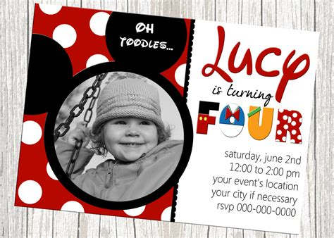 Handmade Mickey Mouse Birthday Invitations - mickey mouse birthday invitation custom by mommybrain2designs