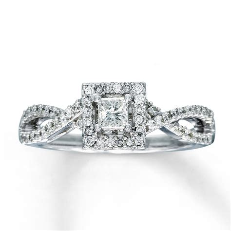 engagement ring 1 2 ct tw princess cut 14k