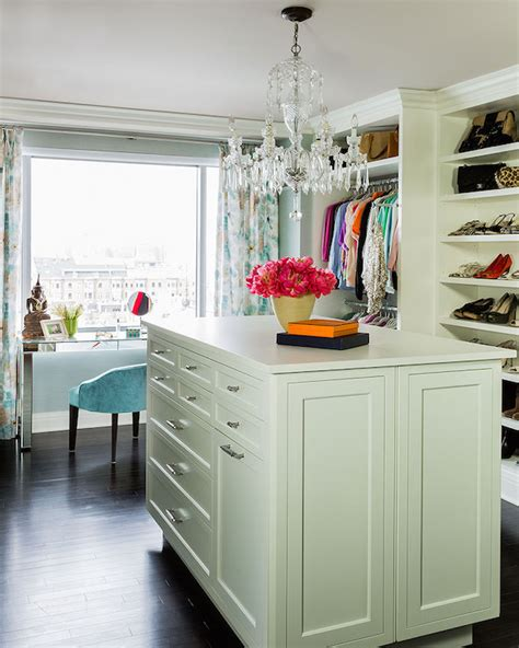 Vanity Make Up Tables Walk In Closet With Island Transitional Closet
