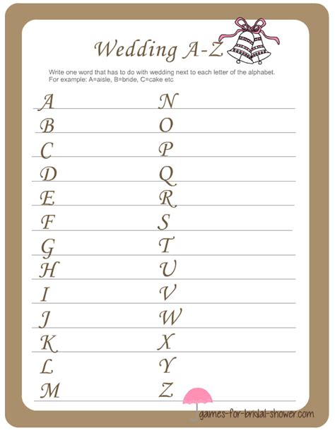 bridal shower and activities wedding a z printable for bridal shower