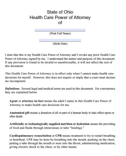 ohio living will template free ohio power of attorney form pdf template