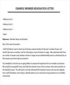 Membership Resignation Letter Sle by Sle Membership Resignation Letter 5 Exles In Pdf Word