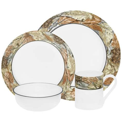 corelle leaf pattern corelle impressions woodland leaves 16 piece dinnerware