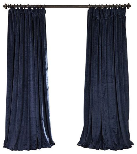 Blue Velvet Curtains Signature Midnight Blue Doublewide Blackout Velvet Curtain Single Panel Traditional Curtains