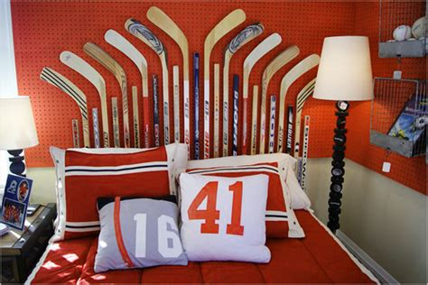boys sports room red white and blue sports themed boys room interior