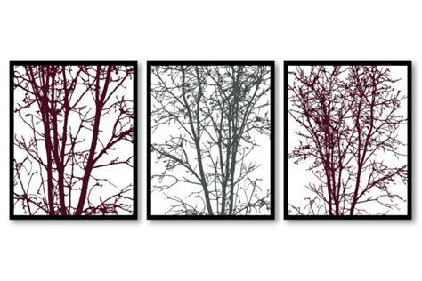 Burgundy Bathroom Wall Decor Home Decor Wall Burgundy Grey Landscape Trees Set
