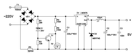 220ac To 5vdc Converter 5v transformerless dc power supply from 220v with lm2575 power supply circuits